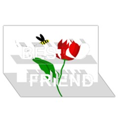 Red tulip and bee Best Friends 3D Greeting Card (8x4)