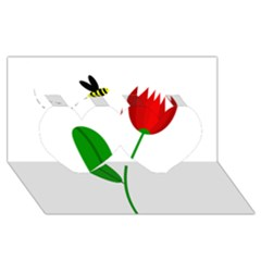 Red tulip and bee Twin Hearts 3D Greeting Card (8x4)