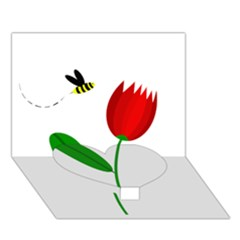 Red tulip and bee Heart Bottom 3D Greeting Card (7x5)