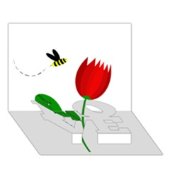 Red tulip and bee LOVE Bottom 3D Greeting Card (7x5)