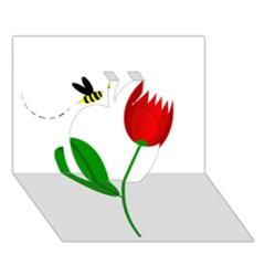 Red tulip and bee Apple 3D Greeting Card (7x5)