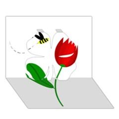 Red tulip and bee Clover 3D Greeting Card (7x5)
