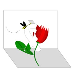 Red tulip and bee Ribbon 3D Greeting Card (7x5)