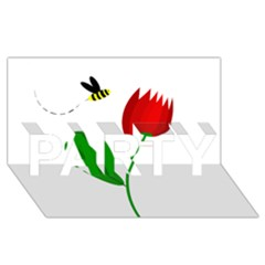 Red tulip and bee PARTY 3D Greeting Card (8x4)