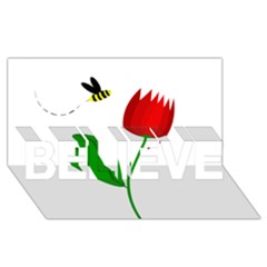 Red tulip and bee BELIEVE 3D Greeting Card (8x4)
