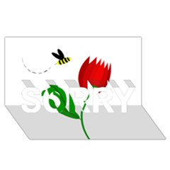 Red tulip and bee SORRY 3D Greeting Card (8x4)