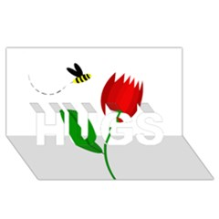 Red tulip and bee HUGS 3D Greeting Card (8x4)