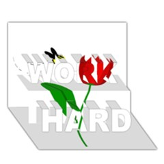 Red tulip and bee WORK HARD 3D Greeting Card (7x5)