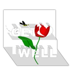 Red tulip and bee Get Well 3D Greeting Card (7x5)