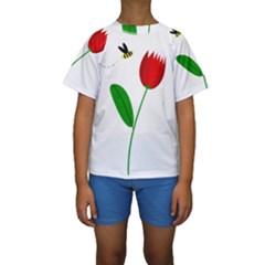 Red Tulip And Bee Kid s Short Sleeve Swimwear