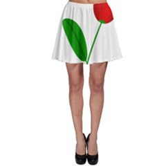 Red tulip and bee Skater Skirt