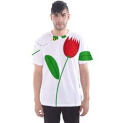 Red tulip and bee Men s Sport Mesh Tee