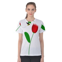 Red tulip and bee Women s Cotton Tee