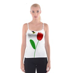 Red tulip and bee Spaghetti Strap Top