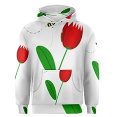 Red tulip and bee Men s Pullover Hoodie