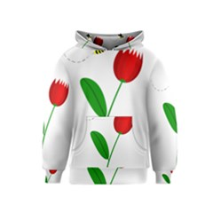 Red tulip and bee Kids  Pullover Hoodie