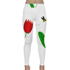Red tulip and bee Yoga Leggings