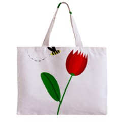 Red tulip and bee Zipper Mini Tote Bag