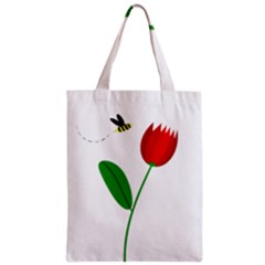 Red tulip and bee Zipper Classic Tote Bag