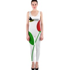 Red tulip and bee OnePiece Catsuit