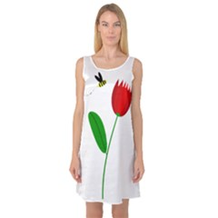 Red tulip and bee Sleeveless Satin Nightdress