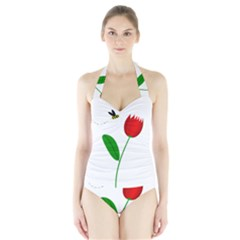 Red Tulip And Bee Halter Swimsuit