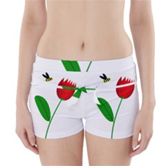 Red tulip and bee Boyleg Bikini Wrap Bottoms