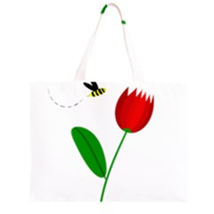 Red tulip and bee Large Tote Bag