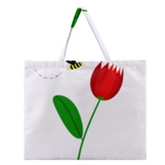 Red tulip and bee Zipper Large Tote Bag
