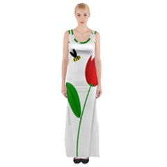 Red Tulip And Bee Maxi Thigh Split Dress