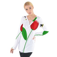 Red tulip and bee Women s Tie Up Tee