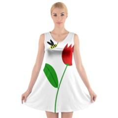 Red Tulip And Bee V Neck Sleeveless Skater Dress