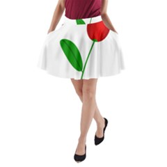 Red Tulip And Bee A Line Pocket Skirt