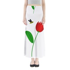 Red tulip and bee Maxi Skirts