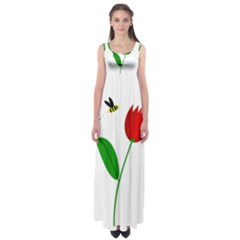 Red Tulip And Bee Empire Waist Maxi Dress