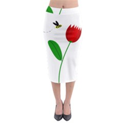 Red Tulip And Bee Midi Pencil Skirt