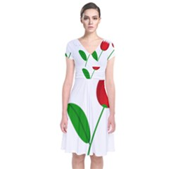 Red tulip and bee Short Sleeve Front Wrap Dress