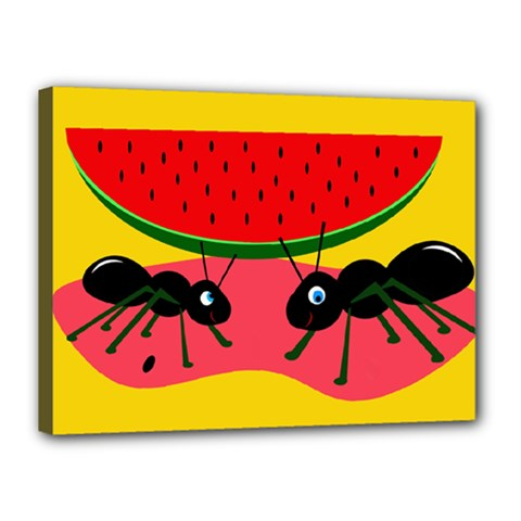 Ants and watermelon  Canvas 16  x 12