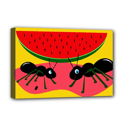 Ants and watermelon  Deluxe Canvas 18  x 12