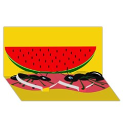 Ants and watermelon  Twin Heart Bottom 3D Greeting Card (8x4)
