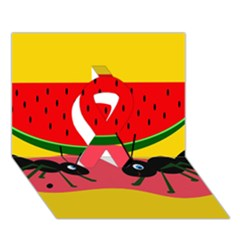 Ants And Watermelon  Ribbon 3d Greeting Card (7x5)