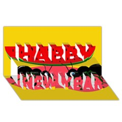 Ants and watermelon  Happy New Year 3D Greeting Card (8x4)