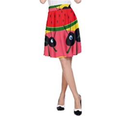 Ants and watermelon  A-Line Skirt