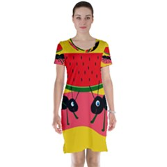 Ants and watermelon  Short Sleeve Nightdress