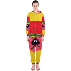 Ants and watermelon  Hooded Jumpsuit (Ladies)