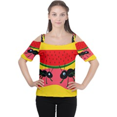 Ants and watermelon  Women s Cutout Shoulder Tee
