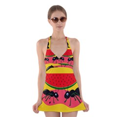 Ants and watermelon  Halter Swimsuit Dress