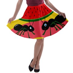 Ants and watermelon  A-line Skater Skirt