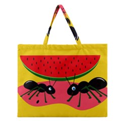 Ants and watermelon  Zipper Large Tote Bag
