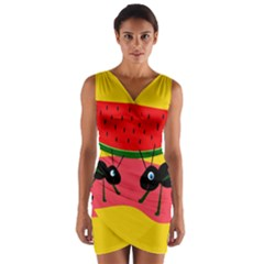 Ants and watermelon  Wrap Front Bodycon Dress